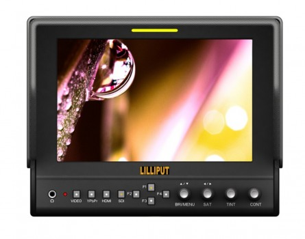 """Lilliput 663/O/P2 With HMDI Output 7""""LED Monitor 1280x800 IPS 800:1 Contrast With Suit Case+Folding Sun Shade Cover+2 PC Battery Plate"""
