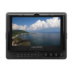 LILLIPUT  665 /O/P ,7 Inch Color TFT LCD Monitor With HDMI, YPbPr, AV Input HDMI Output / With F-970 & QM91D Battery Plate + Sun Shade Cover + Free Hot Shoe Mount